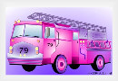 Childrens book illustration of a fire truck using Apple drawing software